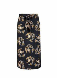 Womens Black Floral Print Tie Back Midi Skirt- Black, Black