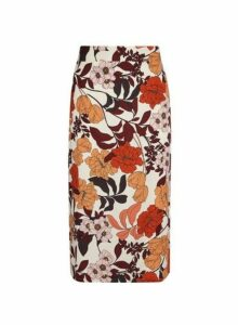 Womens Multi Colour Floral Print Midi Pencil Skirt, Multi