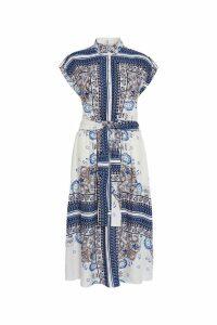 Womens F&F Blue Scarf Print Dress -  Blue