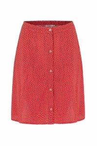 Womens Cath Kidston Red Scattered Spot Button Through Skirt -  Red