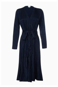 Womens Ghost London Blue Rain Embroidered Satin Wrap Dress -  Blue