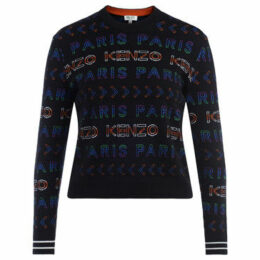 Kenzo  sweater in black wool with multi-colored crew-neck  women's Sweater in Other