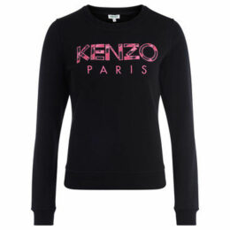 Kenzo  black cotton sweatshirt with print pink logo  women's Sweatshirt in Black