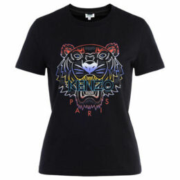 Kenzo  Tigre T shirt in black cotton with front logo  women's T shirt in Black