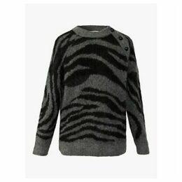 Gerard Darel Solange Zebra Print Button Detail Jumper, Grey/Black