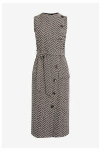 Womens Next Monochrome Jacquard Sleeveless Dress -  Brown