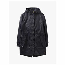 Joules Golightly Pack-Away Waterproof Glossy Spot Print Coat, Black