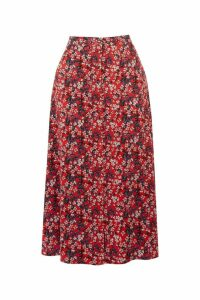 Womens Oasis Red Ditsy Button Midi Skirt -  Red