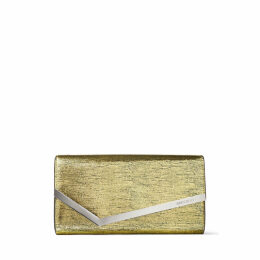 EMMIE Gold Metallic Lizard Print Leather Clutch Bag