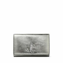 VARENNE CLUTCH Gunmetal Distressed Metallic Fabric Clutch Bag with JC logo