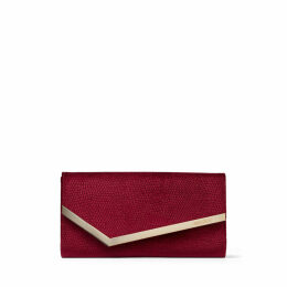 EMMIE Bordeaux Lizard Printed Velvet Clutch Bag