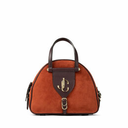 VARENNE BOWLING/S Rust Suede and Aubergine Vacchetta Leather Bowling Bag with Gold JC Logo
