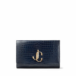 VARENNE CLUTCH Navy Croc Embossed Leather Clutch Bag with JC logo