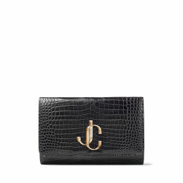 VARENNE CLUTCH Dusk Croc Embossed Leather Clutch Bag with JC logo
