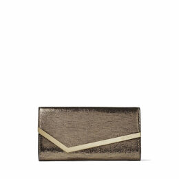EMMIE Anthracite Metallic Lizard Print Leather Clutch Bag