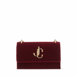 BOHEMIA Bordeaux Velvet Clutch Bag with Chain Strap