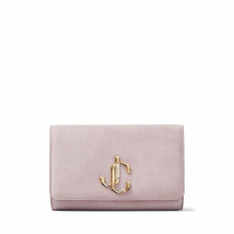 VARENNE CLUTCH Mauve Suede Clutch Bag with JC logo