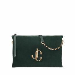 VARENNE SHOULDER/S Dark Green Suede Shoulder Bag with JC Logo