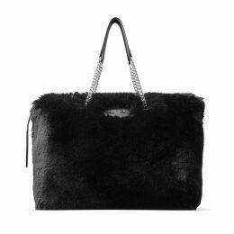 ALLEGRA Black Faux Fur Shoulder Bag with Chain Strap
