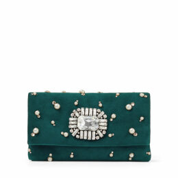 TITANIA Dark Teal Suede Clutch Bag with Crystal and Pearl Embroidery