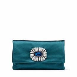TITANIA Dark Teal Satin Clutch Bag