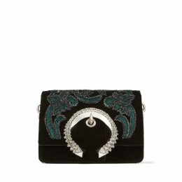 MADELINE SHOULDER BAG/S Black Velvet Shoulder Bag with Floral Bead Embroidery and Crystal Buckle