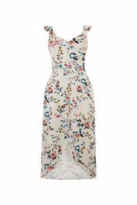 Womens Oasis Natural Floral Print Midi Dress -  Natural
