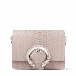 MADELINE SHOULDER BAG Mauve Snakeskin Shoulder Bag with Crystal Buckle
