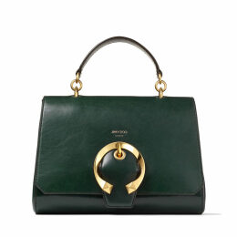 MADELINE TOP HANDLE Dark Green Calf Leather Tophandle Bag with Metal Buckle