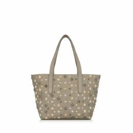 SOFIA/S Light Khaki Pearlized Grainy Leather Tote Bag with Metallic Mix Multimetal Stars