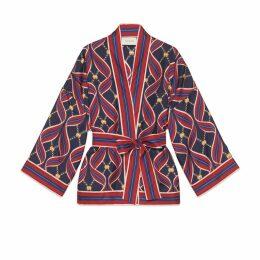 Kimono style top with Interlocking G ribbon print