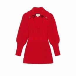 Ribbed wool mini dress