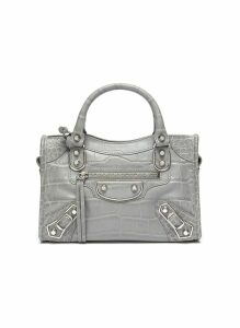 'Classic City' mini croc embossed leather shoulder bag