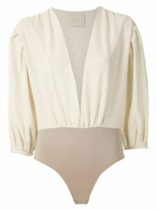 Framed Bouclé bodysuit - White