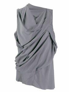 Rick Owens asymmetric draped blouse - Blue