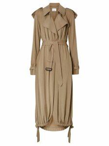 Burberry Jersey Wrap Coat - NEUTRALS