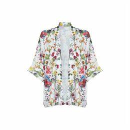 Yumi Botanical Print Open Front Kimono