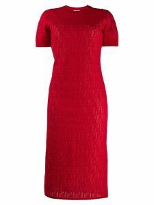 Fendi monogram devore t-shirt dress - Red