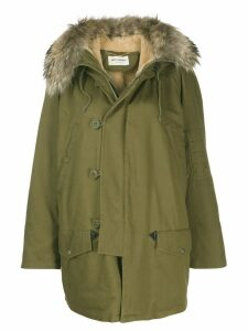 Saint Laurent fur trim hooded parka - Green