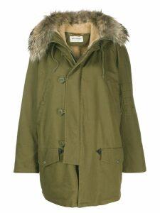 Saint Laurent fur trim hooded parka - Green
