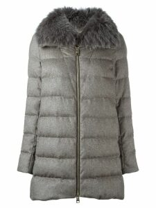 Herno fox fur collar coat - Neutrals