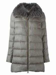 Herno fox fur collar coat - NEUTRALS