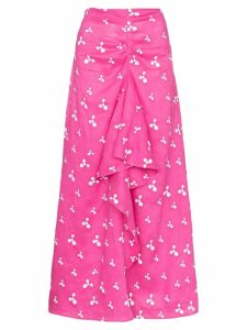 All Things Mochi Ola printed linen midi skirt - PINK