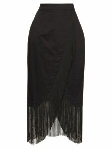 Taller Marmo wrap-front fringed skirt - Black