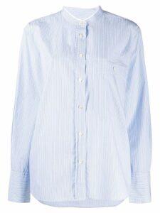Closed striped band collar shirt - Blue