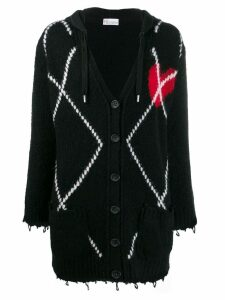 Red Valentino knitted heart cardigan - Black