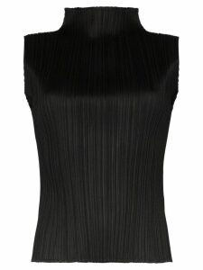 Pleats Please Issey Miyake pleated high-neck top - Black