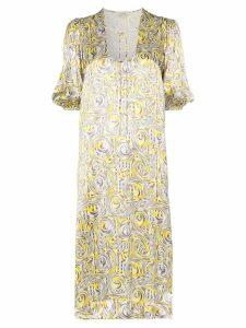 Ganni swirl print midi dress - Yellow