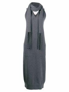 Salvatore Ferragamo scarf detail knit dress - Grey