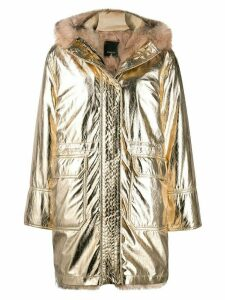 Pinko faux fur lined parka coat - Metallic